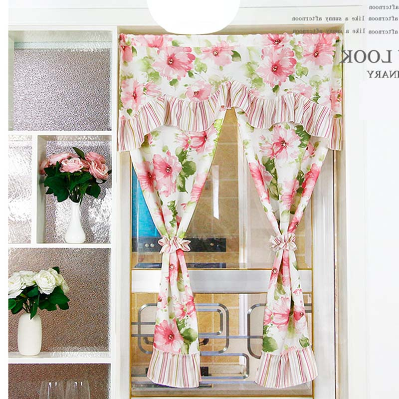modern kitchen door flower curtains binds 2 colors short curtain set cotton fabric home decorative window screen