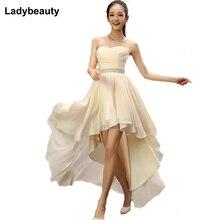 Ladybeauty Лучшая Кристальные пояса без рукавов плиссированные шифоновые короткие спереди длинные сзади бандажные вечерние платья