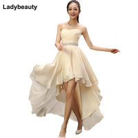 Best Sale 2015 Crystal Sashes Sleeveless Pleat Chiffon Short Front Long Back Bandage Evening Dresses