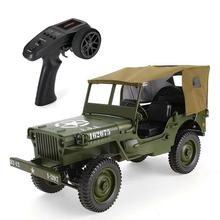 1:10 Classic 4WD Remote Control Military Jeep 2.4G RC Off-road Car Transporter-6 Army Vehicle Model Toys with Canopy LED цена в Москве и Питере