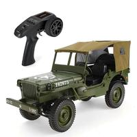 1:10 Classic 4WD Remote Control Military Jeep 2.4G RC Off road Car Transporter 6 Army Vehicle Model Toys with Canopy LED