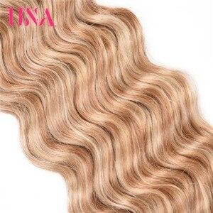 Image 3 - UNA HUMAN HAIR Deep Wave Bundles Pre colored Indian Hair Weft 1/3/4 Bundles Indian Hair Bundles Remy Human Hair Extensions
