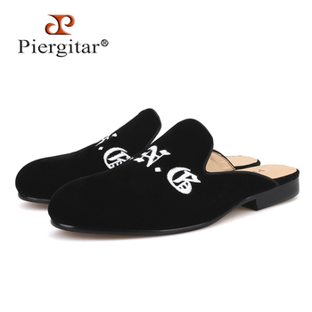 Velvet Suede Handmade slippers with leather insole Letter embroidery men's half designs loafers