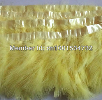 Free Shipping 10Yards 15-18cm width Yellow Marabou Feather trimming Turkey Feather trim fringe for Skirt Dress Carnival custome