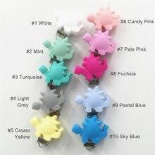 Купить с кэшбэком Chenkai 50pcs Silicone Dinosaur Clips DIY Animal Baby Teether Pacifier Dummy Montessori Sensory Jewelry Holder Chain Clips