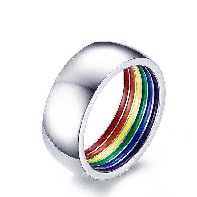 hide inside rainbow ring for men stainless steel wedding ring 8mm wide gay pride jewelry mens - Rainbow Wedding Rings
