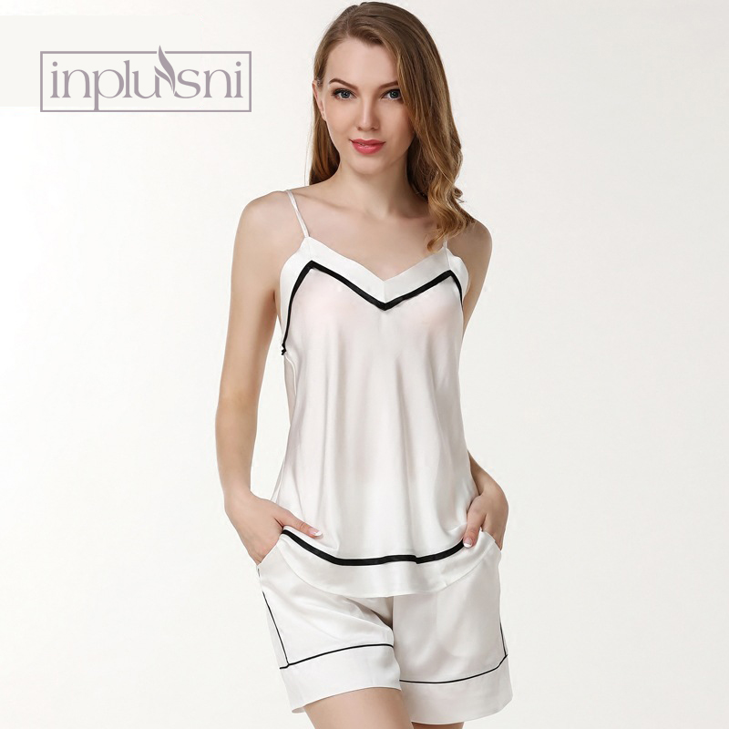 Inplusni для женщин пижамы для девочек 19 momme sexy 100% шелк леди Пижама подтяжки шорты Комплект из двух предметов домашняя Оде