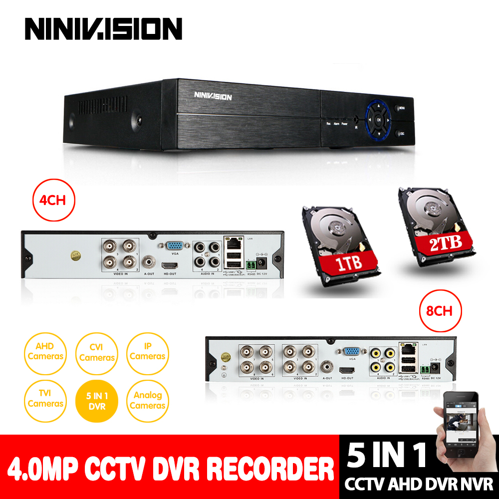 NINIVISION 4CH 8CH 4MP AHD DVR NVR CCTV 1080P 3MP 5MP Hybrid Security DVR Recorder Camera Onvif Control P2P Cloud Mobile view 5 in 1 4ch ahd dvr nvr hvr cctv 4ch 1080n hybrid security dvr recorder camera onvif rs485 coxial control p2p cloud