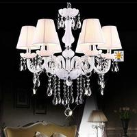 White color luxury crystal living room, dinning room chandeliers with fabric shade