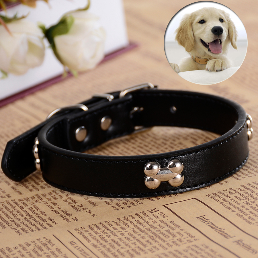 Small Pet Puppy Dog-Collar Pu Leather Bone Studded Charm Collar Pet Neck Strap Black Red Green Purple Color Size S M L