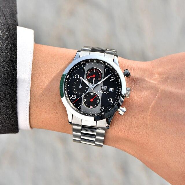 511fa8ed3880 BENYAR moda cronógrafo deporte relojes hombres correa de Acero Inoxidable  marca Reloj de cuarzo Reloj Reloj Masculino Reloj Hombre negro