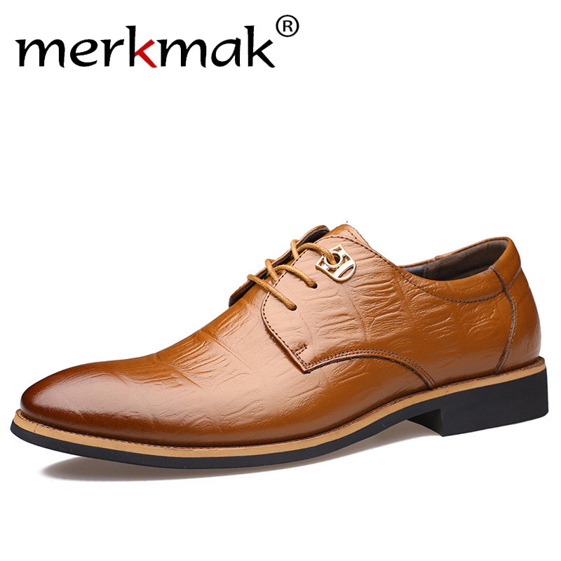 Merkmak 2018 Brand Men Flats Fashion High Quality Genuine   Leather   Shoes Mens Lace Up Business Dress Shoes Oxfords For Men