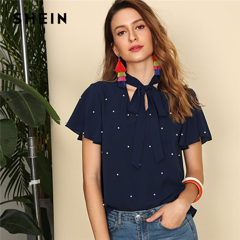 SHEIN Navy Pearl Embellished Tie Neck Butterfly Sleeve Top Women Stand Collar V Neck Short Sleeve Plain Top 2018 Elegant Blouse