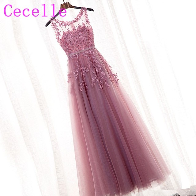 2019 New Blushing Pink Long Formal Bridesmaids Dresses Sleeveless Beaded Lace Appliques Tulle Wedding Party Dresses Custom Made