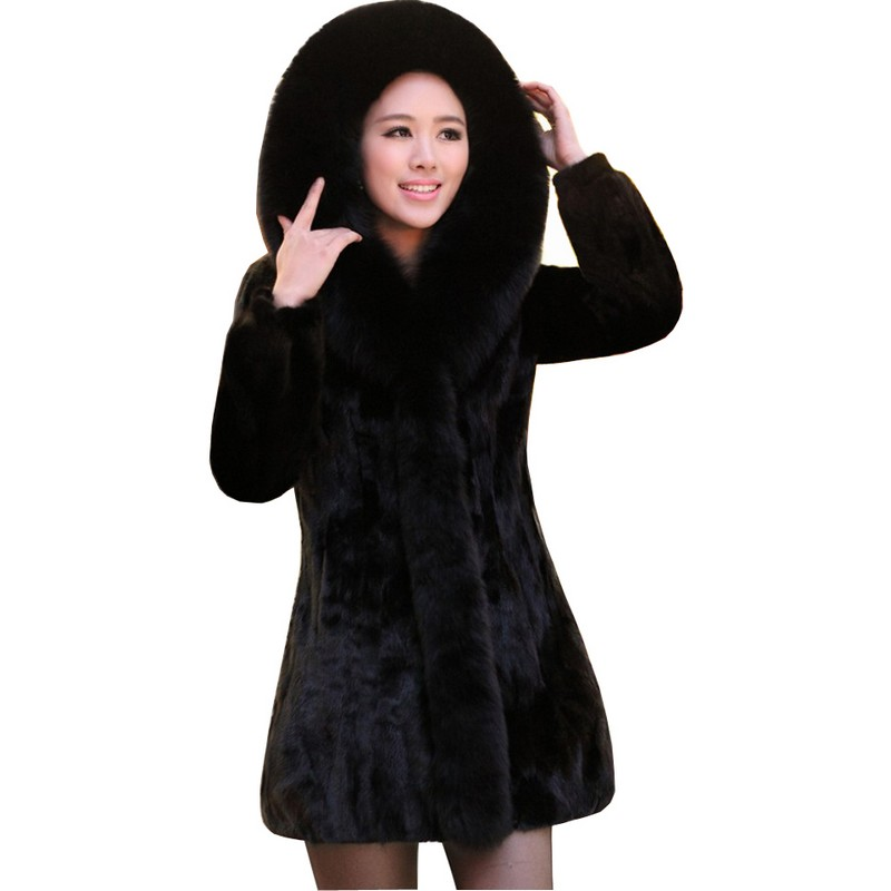 Luxury Lady Genuine Nature Mink Fur Coat Jacket Fox Fur Hoody Winter Women Fur Outerwear Coats Trench Overcoat 3XL 4XL 2237