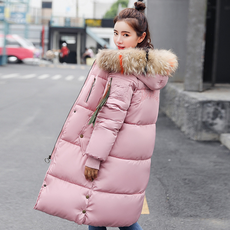 Winter Female Long Jacket 2019 New Winter Coat Women Fake Fur Collar Warm Woman   Parka   Outerwear Down Jacket Winter Women C80604