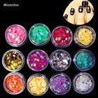 Mezerdoo New 12 Colors Big Hexagon Round Nail Glitter Powder Mix Dust Set Art Decoration