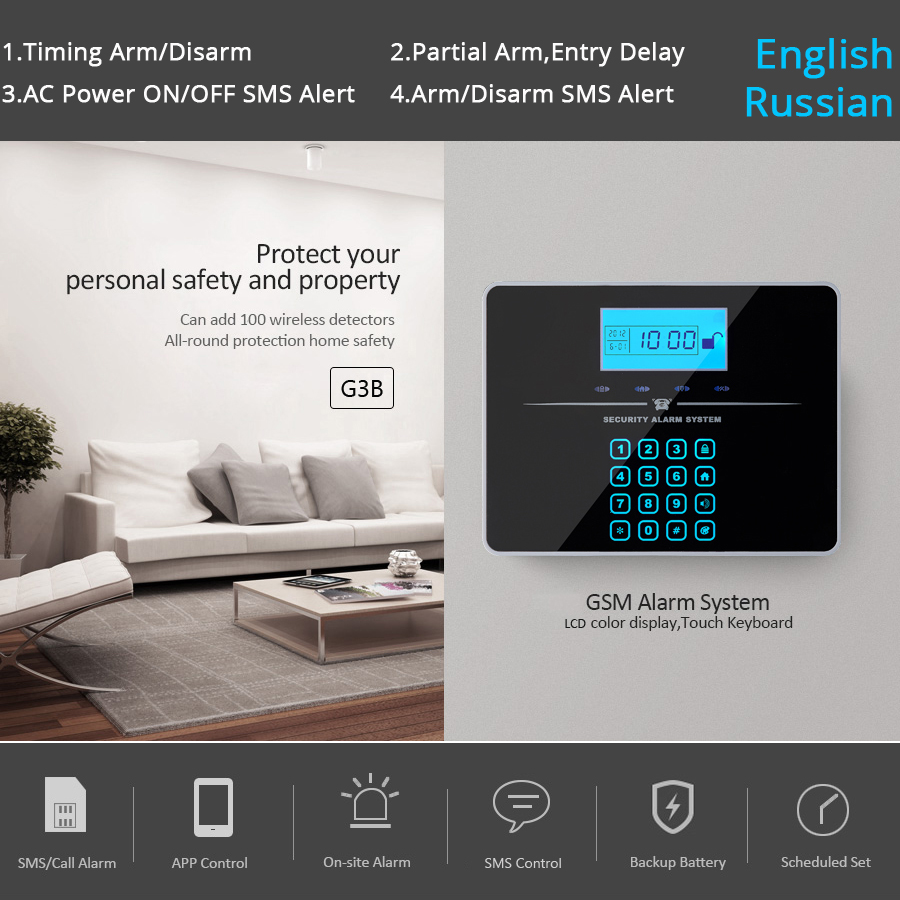 gsm alarm APP remote control GSM home intrusion alarm system touch ...