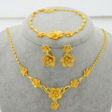 Oro de La Joyería de moda Colgante de La Flor Collar/Pendientes/Pulsera para Las Mujeres de Lujo de La Novia Del Banquete de Boda Regalos #037804