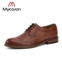 MYCORON 2018 классические мужские кожаные ботинки ручной работы минималистский дизайн формальная обувь Человек Круглый носок модельные туфл