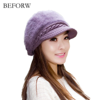 BEFORW Autumn And Winter Women Hat Rabbit Berets New Style New Fashion Keep Warm Korean Version