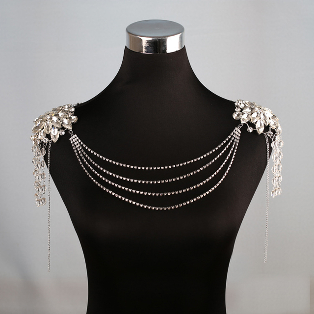 2016 New Arrival Gorgeous Noble Crystal Shoulder Chain for Women Wedding Shoulder Chains Necklace Bride Dress Accessories