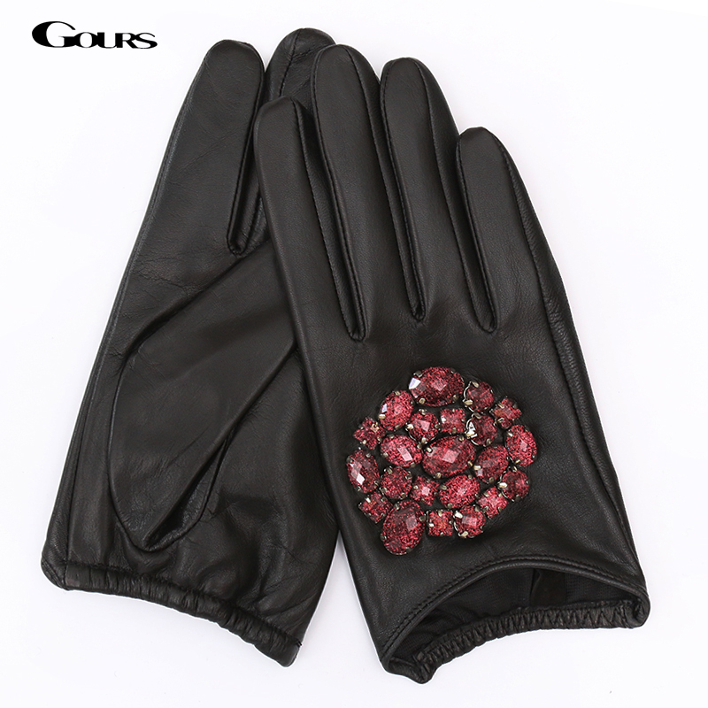 Gours Fall And Winter Genuine Leather Gloves For Women Black Goatskin Stone Gloves New Arrival Fashion Warm Mittens GSL001
