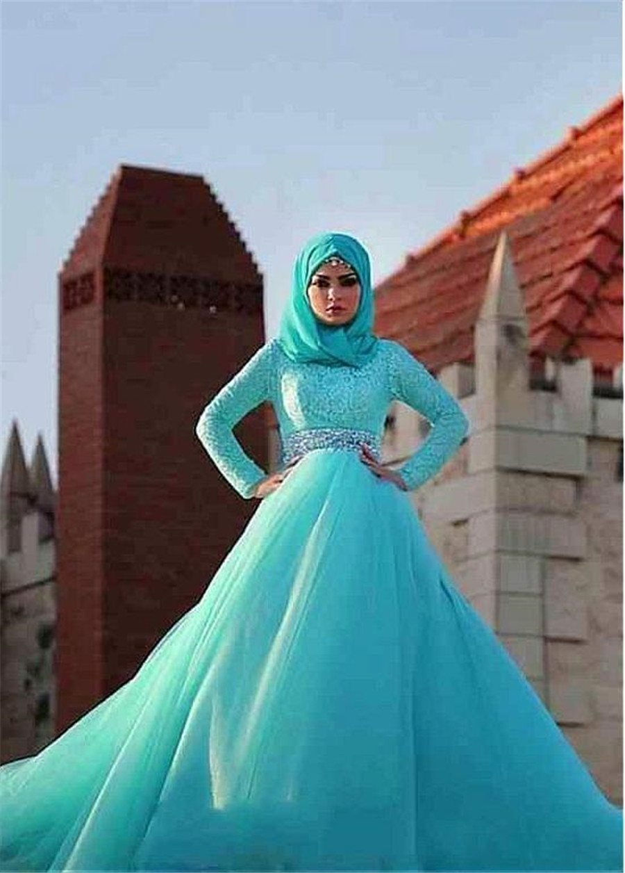 Image 4 - Gorgeous Tulle Natural Waisline Ball Gown Arabic Islamic Wedding Dresses with Rhinestones Belt Muslim Bridal Dress Blue-in Wedding Dresses from Weddings & Events