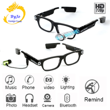 New Multifunction Bluetooth glasses Support to listen to music and call  720p video glasses Built in 32G storage LED light
