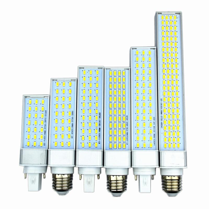Lampada E27 G23 G24 8 W 10 W 12 W 15 W 18 W 30 W 5730 5630 SMD AC85V-lampada Spina Orizzontale PL Lampadina Del Cereale Del Led Bombillas luce Spot