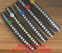 100 peças 3528 led vermelho azul amarelo branco quente, verde, roxo, 1210 luz emissora de diodo 3528 1210 smd super brilhante contas de alta qualidade