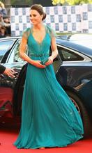 Evening Dress Long Sexy V Neck Robe De Soiree Cap Sleeves Kate Middleton Green Lace Gown Mother Of The Bride Dresses