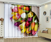Tulip Flowers print Luxury Modern 3D Blackout Window Curtain For Living room Bedroom Hotel Office Drapes Cortinas Rideaux