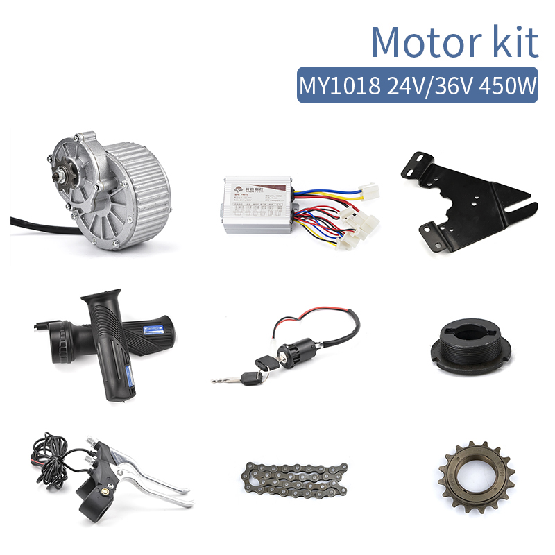 купить E scooter conversion kit 450W 24V 36V MY1018 DC Brush Motor Electric bike bicycle E tricycle Brushed DC Motor DIY Kiti по цене 6200.69 рублей