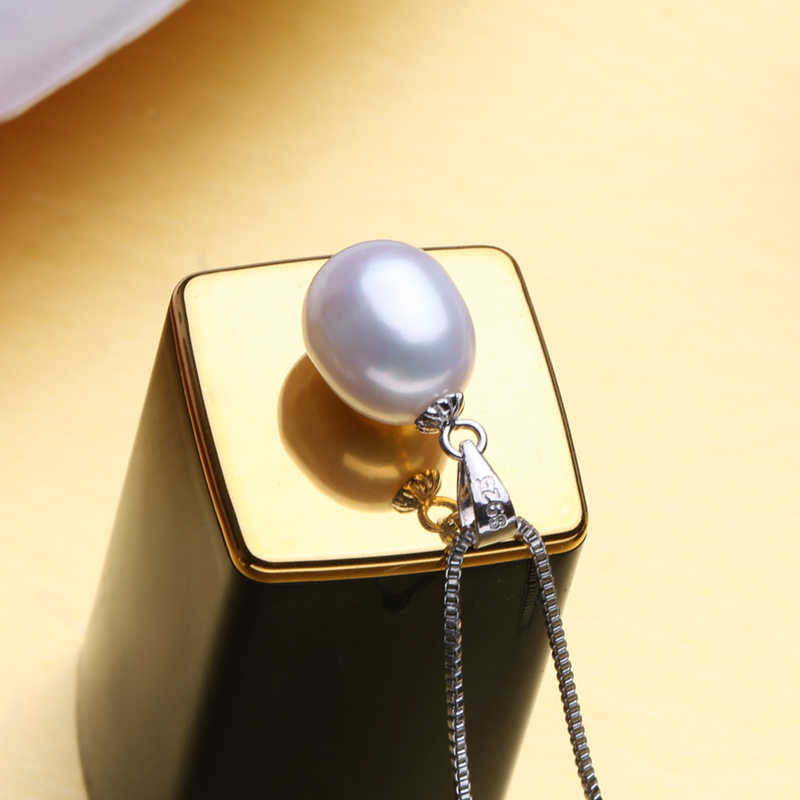 FENASY S925 sterling silver pearl เครื่องประดับไข่มุกน้ำจืดสร้อยคอ bohemian สีดำสีขาว bijoux femme สร้อยคอไข่มุกผู้หญิง