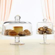 Transparent candy dish cover fruit plate Afternoon tea cake cover glass cover West Point tray Cake plate fruit dessert plate original thick plate glass plate glass us microwave dish microwave turntable chassis tray 31 5