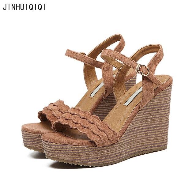 e49d1f11214fb4 Sandale Talons Hauts 2018 Womens Wedge Sandals Summer Platform Wedge Shoes  Roman Bohemian High Heels Ladies