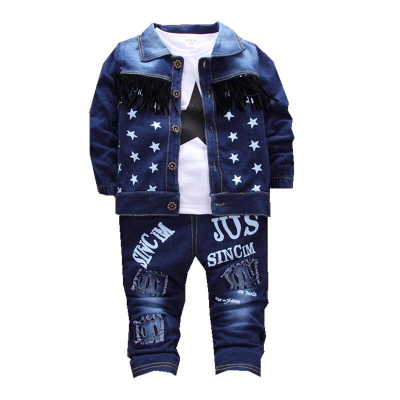 Boys Clothing Set Denim 3pcs sets Autumn New 2018 Fashion Style Cotton Turn-Down Collar Baby Boy Denim Clothes D021 turn down collar bleach wash pockets embellished denim jacket