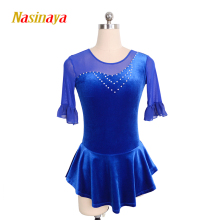 Customized Costume Ice Skating Dress Figure Skating Gymnastics Dress Competition Adult Child Girl Skirt Performance customized costume ice figure skating dress gymnastics competition white adult child performance blue rhinestone sleeveless