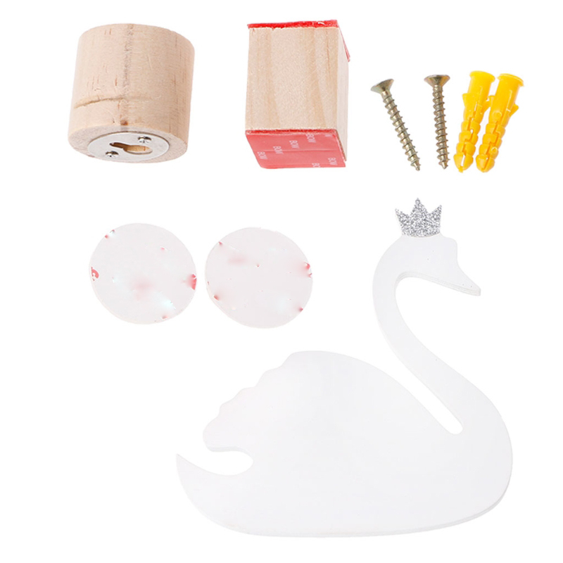 1Set Cute Swan Wooden Clothes Hooks Hanger Wall Decor Children Bedroom Ornaments