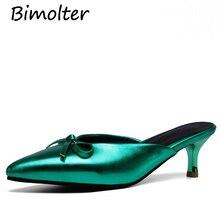 купить Bimolter Big size 46 2019 Summer New Shoes Woman Sexy Pointed Toe Shallow Mules Shoes Elegant Slippers Women PU slippers FB002 по цене 2253.77 рублей