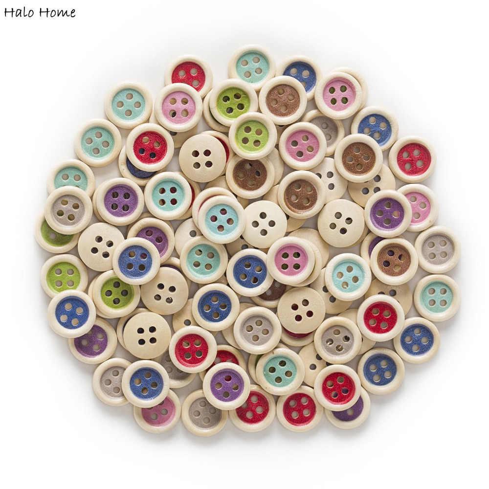50 sztuk wielobarwne opcjonalnie 4 otwory kolor okrągły mieszane drewniane guziki odzież Decor szycia Scrapbooking domu 15mm