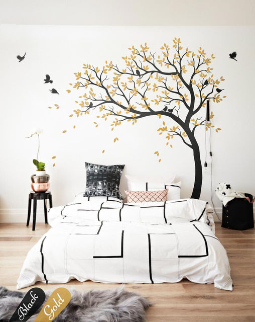 Large black nursery wall design with cute birds and leaves baby