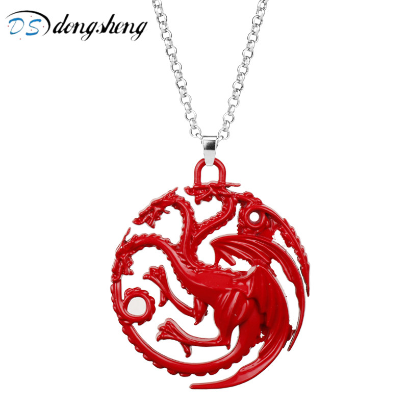 dongsheng Fashion Jewelry Game Of Thrones Necklace The Song Of Ice And Fire Red Dragon Badge Choker Necklace for Women Men-30