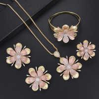Trendy Women Girls Flower Shape Four Pieces Jewelry Setds Bracelet Bangle Necklace Ring Earrings Sets Dress Jewelry Sets