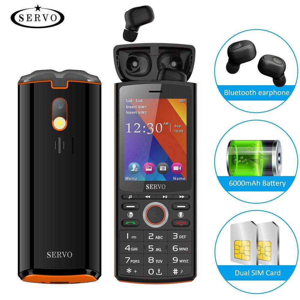 SERVO R25 Música Bluetooth 6000 mAh Banco Do Poder Do Telefone Móvel 2.8 polegada 64 M + 64 M SC6531CA Telefone Música falante Multifunções Celular