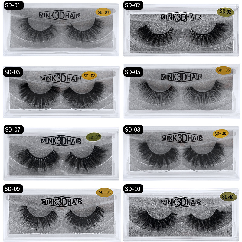 Eldridge Fake Lashes 1Pair 3D Mink Eyelashes Hand Made Cilios Long Lasting Volume Lashes Extension Reusable False Eyelashes(China)
