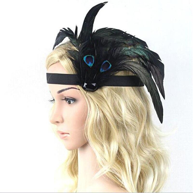 Women Peacock Feather Headband Flapper Black Elastic Hairband 1920s Vintage Headwear  Costume Party Headpiece Hair Accessories headpiece
