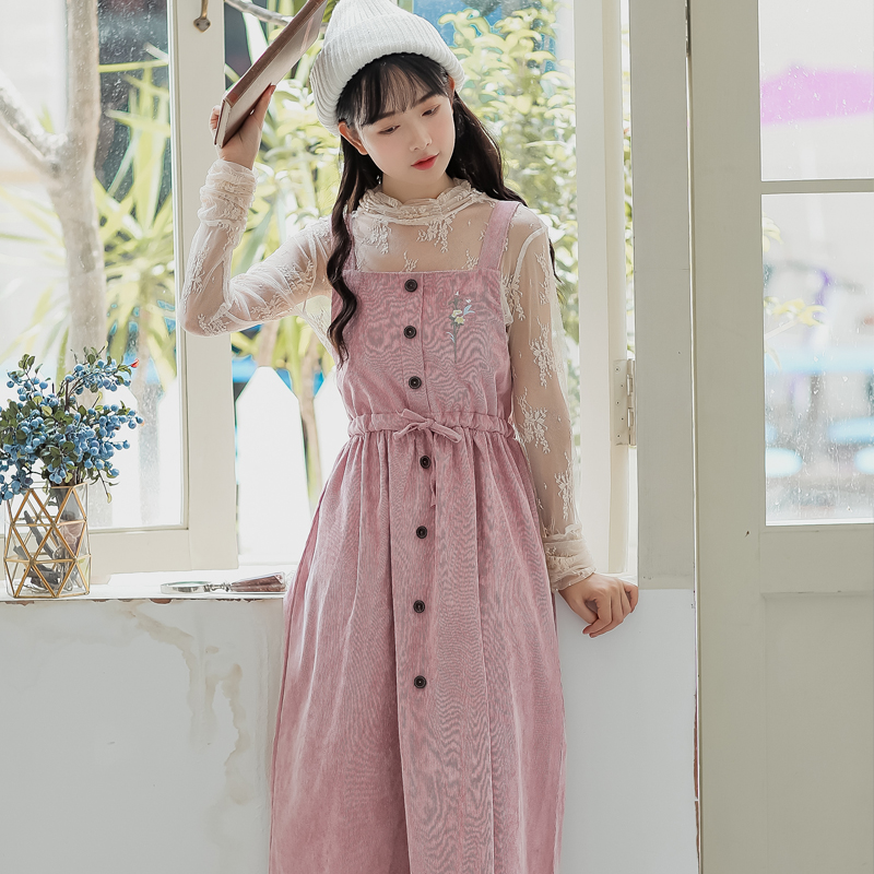 Mori Girl Autumn Winter Women Long Sundress Pink Green Floral Embroidery Suspenders Dress Vintage Elegant Corduroy Sweet Dress girl