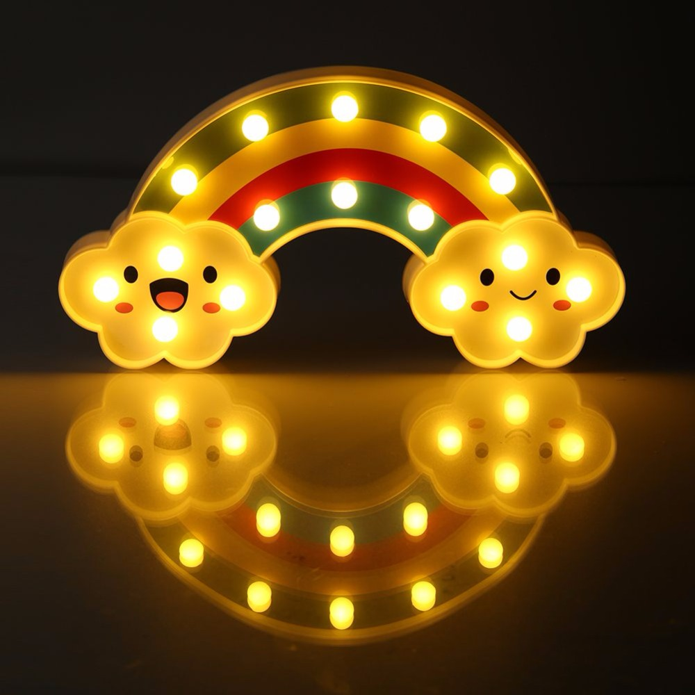 Rainbow 16 LED Night Light Battery Operated Romantic Bedside Wall Desk Nursery Decor Table Lamp Baby Kids Perfect Gift